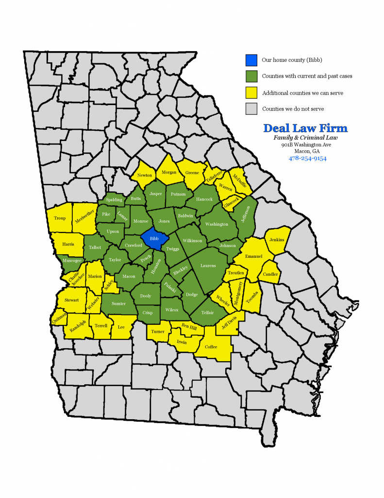 Map of the Georgia Counties served by Deal Law Firm, including Bibb, Houston, Peach, Crawford, Monroe, Jones, Twiggs, and others.